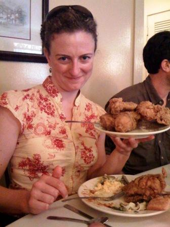 Me with fried chicken at Mrs. Wilkes' Dining Room