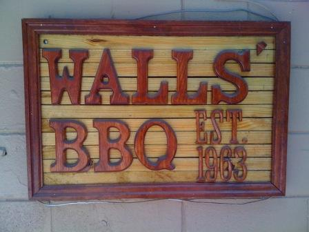 Wall's BBQ sign